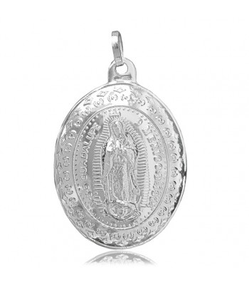 Oval convex Virgin silver medallion