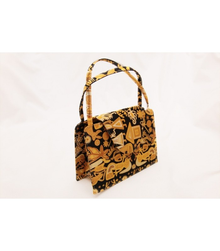 Tepitzin Bag Pineda Covalin Huichol in Gold