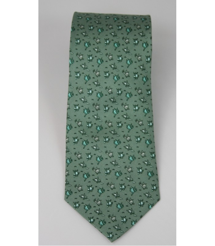 Xalitla Birds Pineda Covalin Silk Tie in Olive
