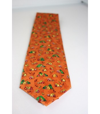 Casitas in Amate Paper Pineda Covalin Silk Tie in Orange