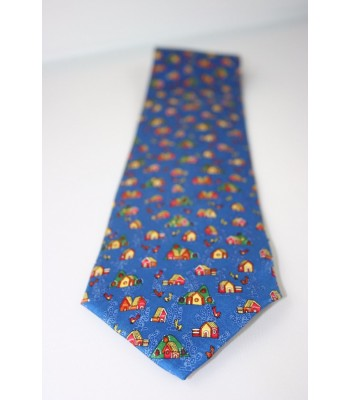 Casitas in Amate Paper Pineda Covalin Silk Tie in Navy Blue