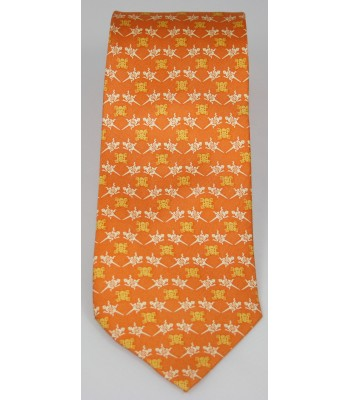 Pre-Hispanic Animals Pineda Covalin Silk Tie in Orange