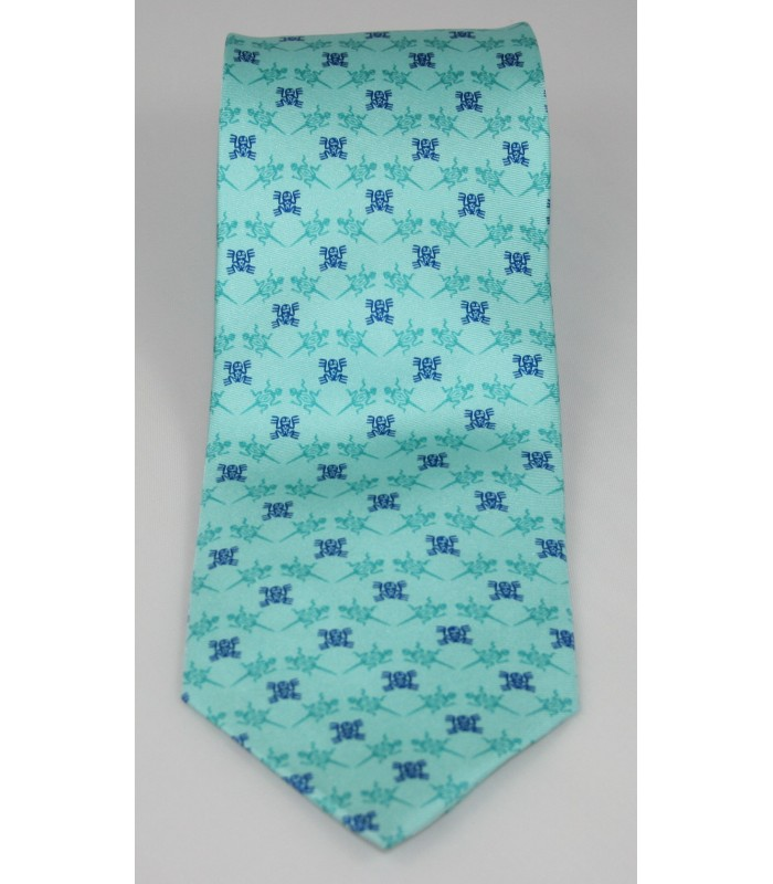 Pre-Hispanic Animals Pineda Covalin Silk Tie in Turquoise