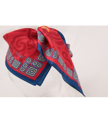 Pre-Hispanic Flowers Pineda Covalin Small Silk Scarf in Red