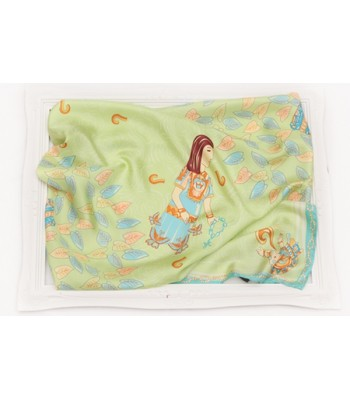Malinche Pineda Covalin Large Silk Scarf in Light Green
