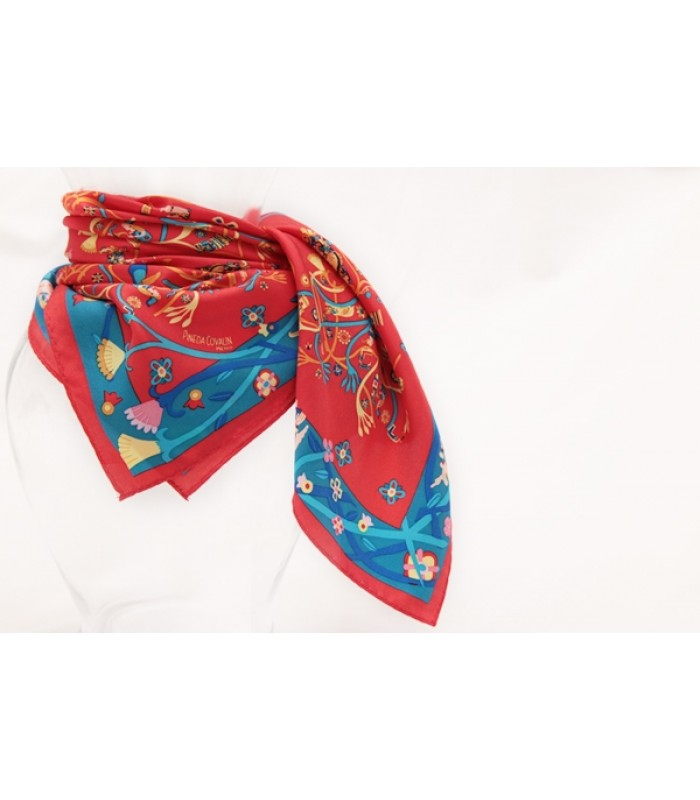 Mayan Nature Pineda Covalin Silk Scarf in Red