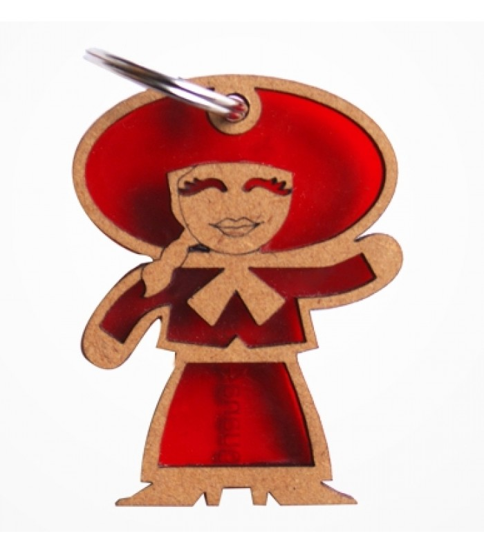Iguana 4 Woman Mariachi Keychain in Red