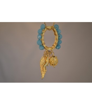 Ring Hand-woven with Faceted Aqua Stones and 22K Gold Plated Angel Wing Charm Necklace