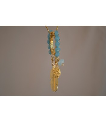 Ring Hand-woven with Faceted Aqua Stones and 22K Gold Plated Leaf Charm Necklace