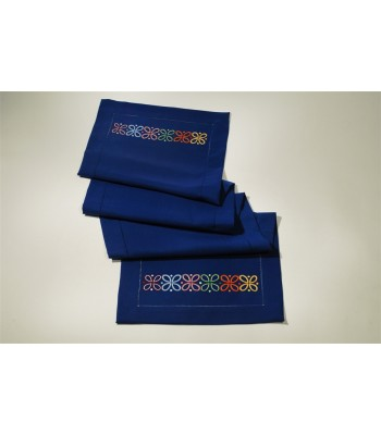 Hand Embroidered Blue Table Runner by Artisans in Aquixtla, Puebla