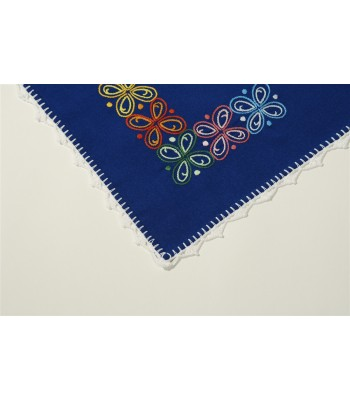 Hand Embroidered Blue Kitchen Towel with Flowers by Artisans in Aquixtla, Puebla