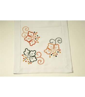 Hand Embroidered White Table Runner by Artisans in Aquixtla, Puebla