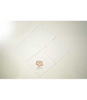 Hand Embroidered White Kitchen Towel  with Flowers by Artisans in Aquixtla, Puebla