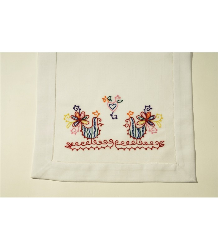 Hand Embroidered White Table Runner with Roosters by Artisans in Aquixtla, Puebla