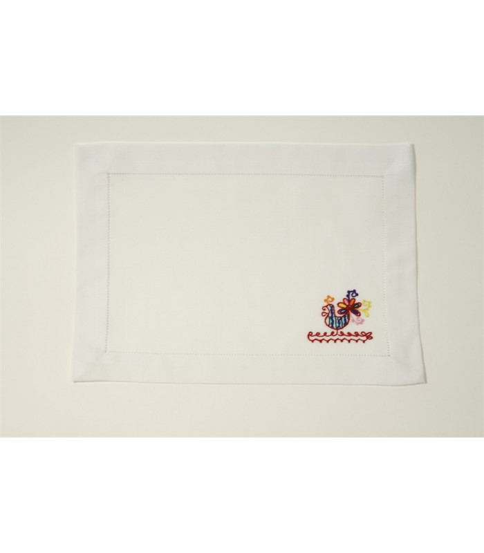 Set of 4 Hand Embroidered White Placemats with Roosters by Artisans in Aquixtla, Puebla