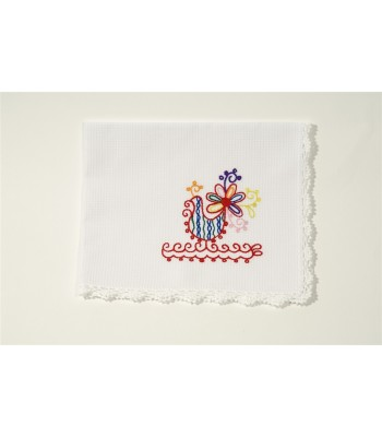 Set of 4 Hand Embroidered White Napkins with Roosters by Artisans in Aquixtla, Puebla