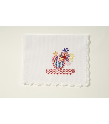 Set of 4 Hand Embroidered White Dish Cloths with Roosters by Artisans in Aquixtla, Puebla