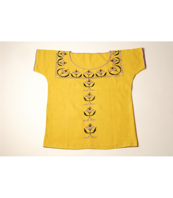 Hand Embroidered Huanengo in Yellow with Flowers