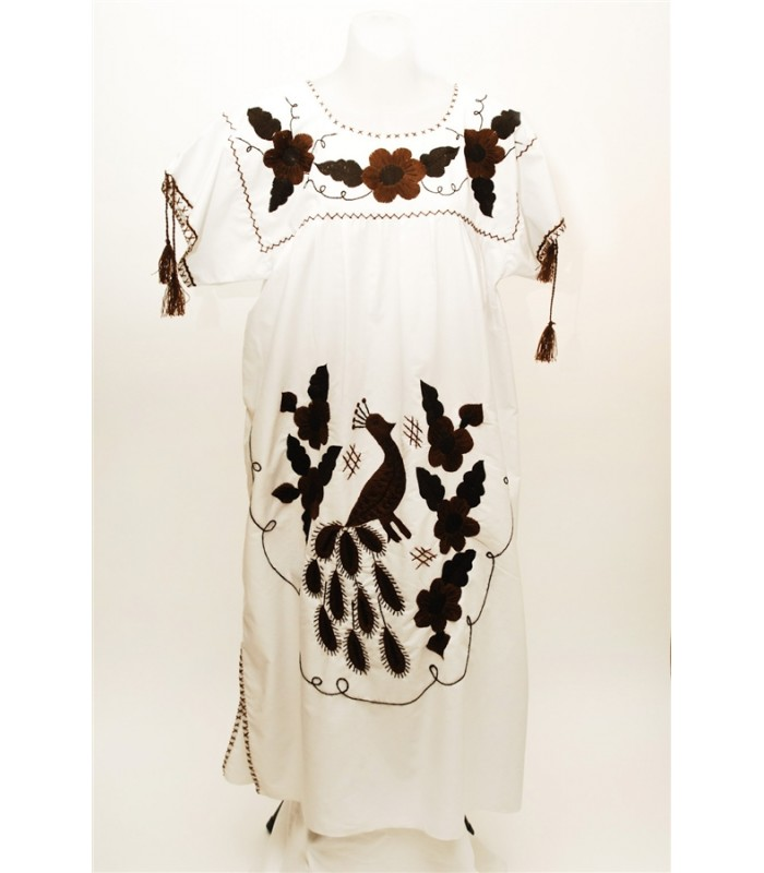 Popeline Dress with Hand Embroidered Brown Flowers