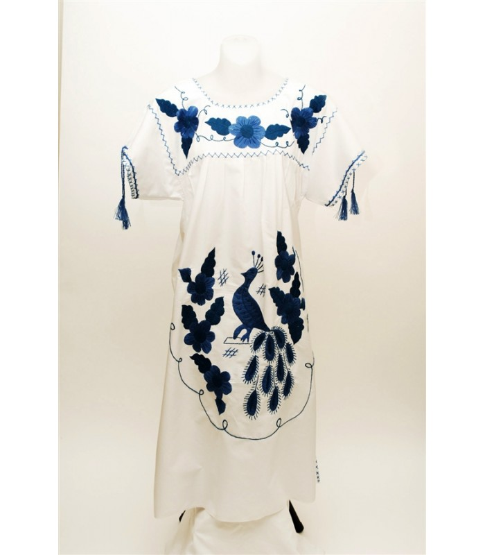 Popeline Dress with Hand Embroidered Blue Flowers