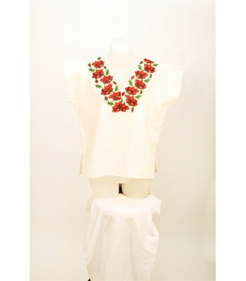 Hand Embroidered Huanengo in White with V-Neck Red Flowers