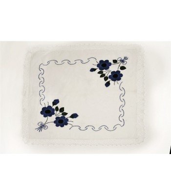 Hand Embroidered Kitchen Towel with Purepecha Flower in Blue