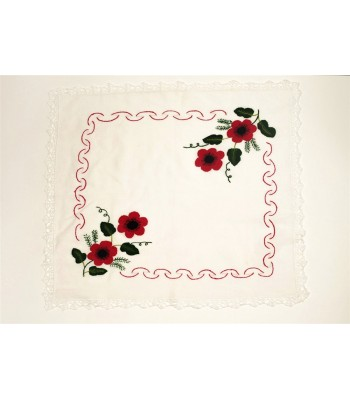 Hand Embroidered Kitchen Towel with Purepecha Flower in Red