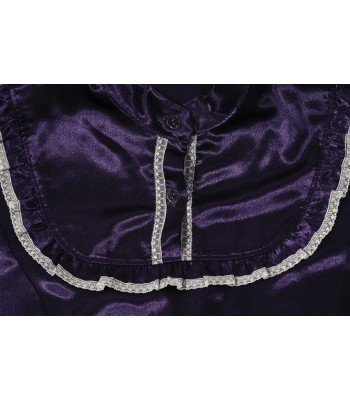 Women's Traditional Mazahua Suit Composed of Skirt, Blouse and Apron In Purple