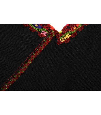 Hand Embroidered Black Wool Quexquemel