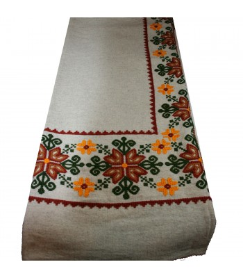 Traditional Mazahua Hand Embroidered Wool Bed Quilt in Ivory with Brown and Green Motifs
