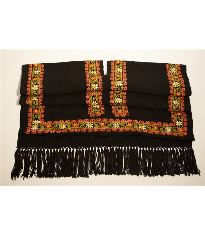 Traditional Mazahua Hand Embroidered Gaban in Black with Brown and Green Motifs
