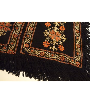 Traditional Mazahua Hand Embroidered Poncho in Black with Brown Motifs