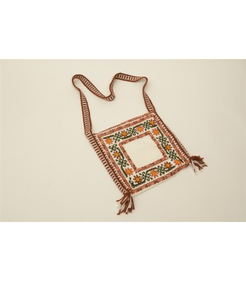 Traditional Mazahua Hand Embroidered Satchel in Ivory with Terracotta Motifs