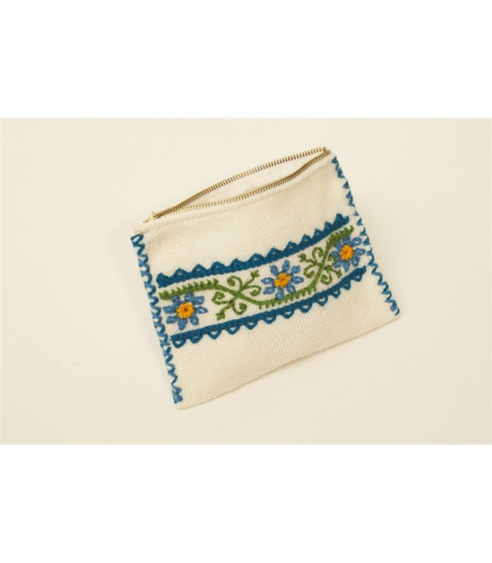 Traditional Mazahua Hand Embroidered Cosmetic Bag in White and Blue