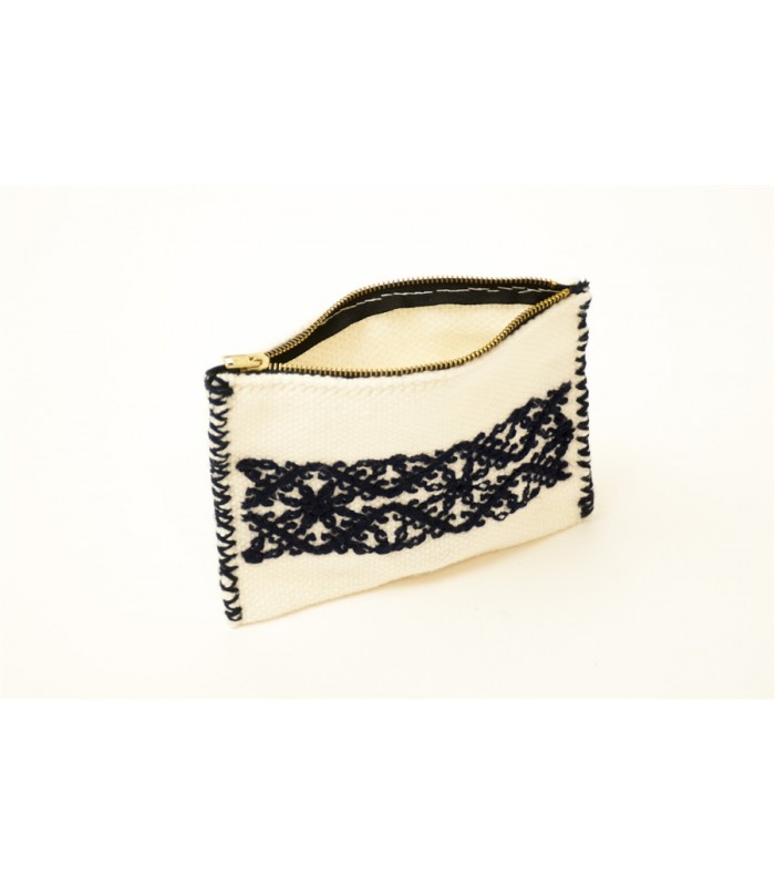 Traditional Mazahua Hand Embroidered Cosmetic Bag in White and Black