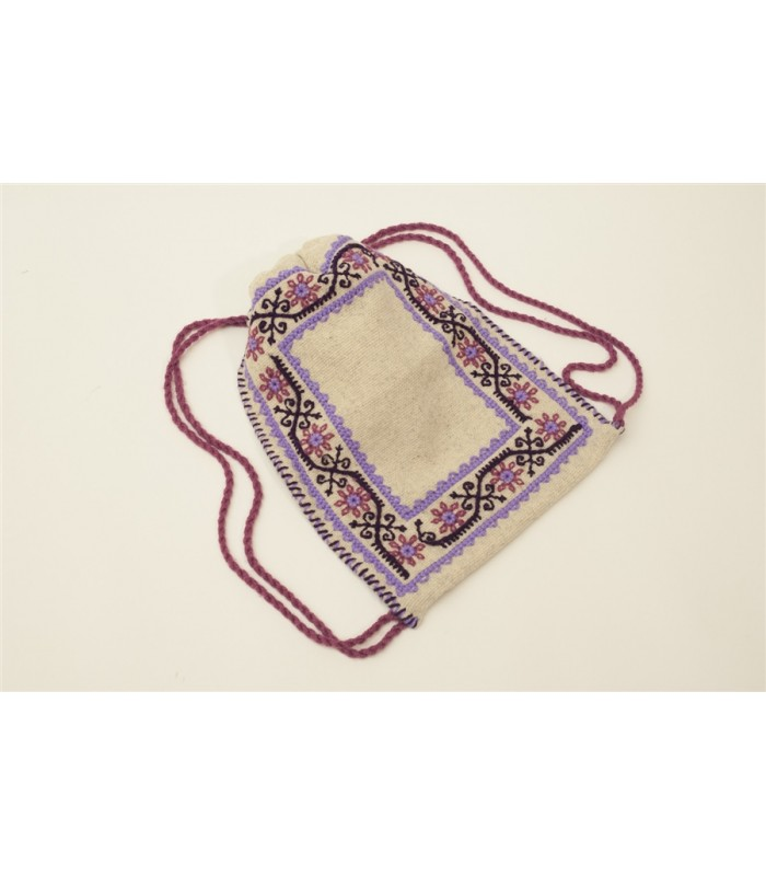 Traditional Mazahua Hand Embroidered Satchel in Ivory with Lilac Motifs