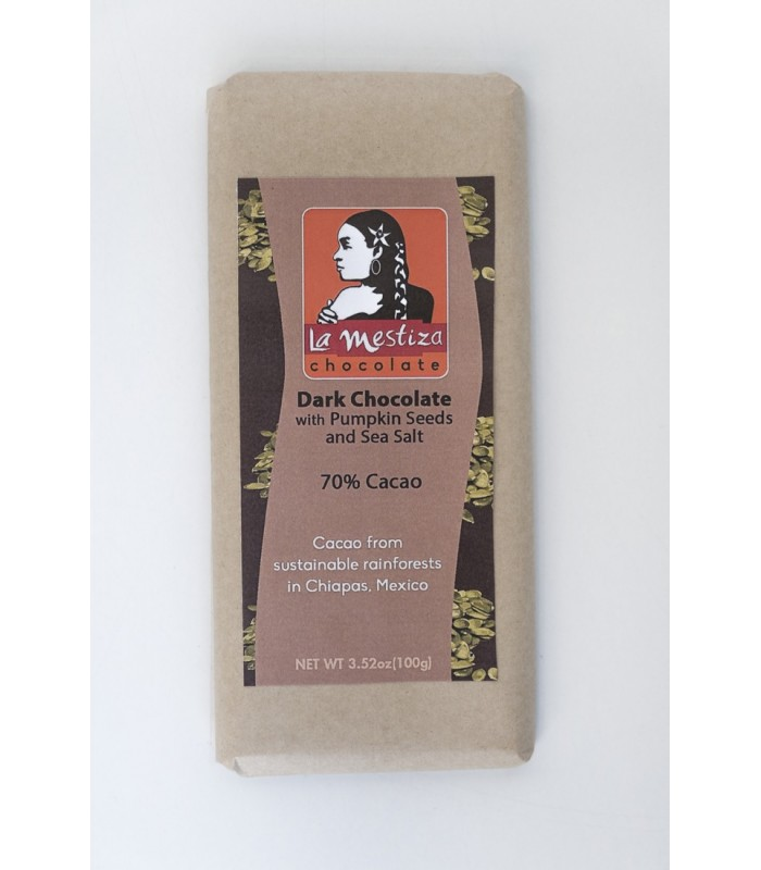 European style gourmet chocolate bar with pumpkin seeds, 70% cocoa.