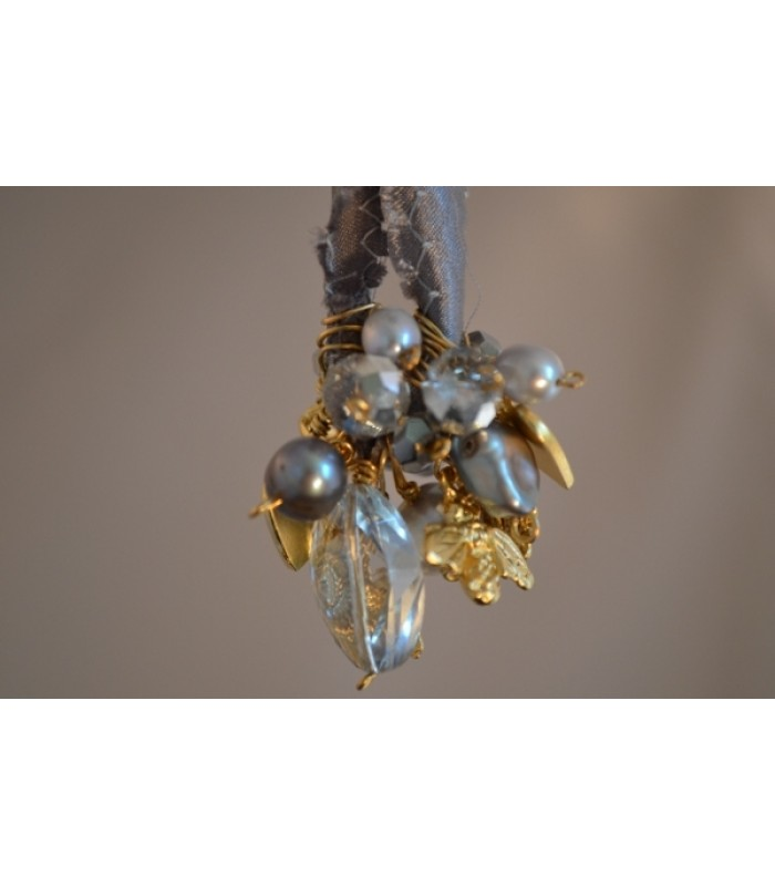 Bracelet with Charms and Grey Freshwater Cultured Pearls in a Grey Silk Ribbon