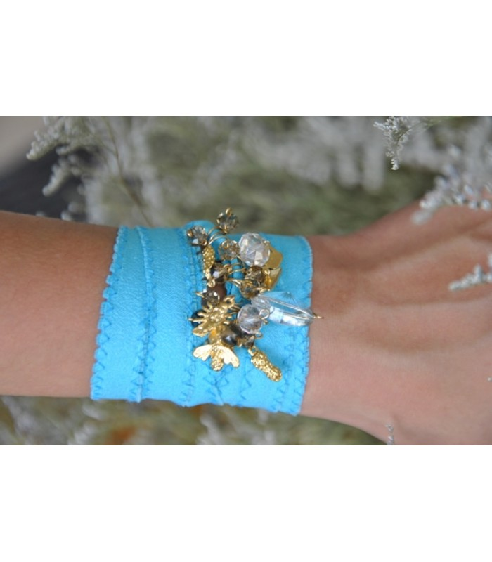 Bracelet with Charms and Smoky Czech Crystals in a Turquoise Silk Ribbon
