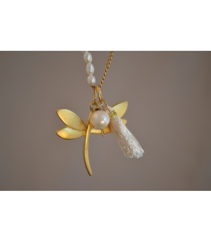 Chain Necklace with 22K Gold-Plated Dragonfly Charm and White Tassel