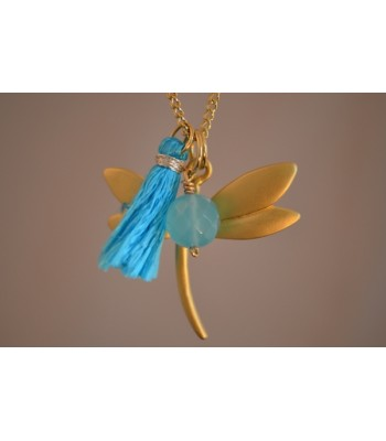 Chain Necklace with 22K Gold-Plated Dragonfly Charm and Turquoise Tassel