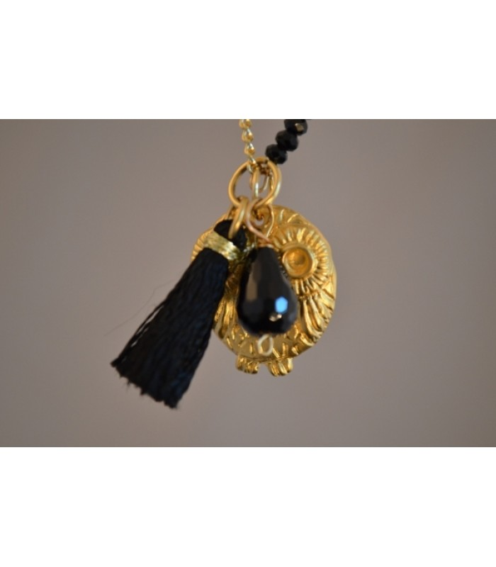 Chain Necklace with 22K Gold-Plated Owl Charm and Black Tassel