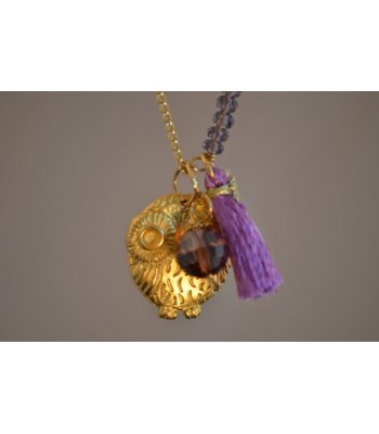 Chain Necklace with 22K Gold-Plated Owl Charm and Lilac Tassel