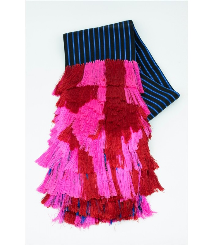 Hand Woven Traditional Gala Purepecha Shawl with Red and Dark Pink Fringes