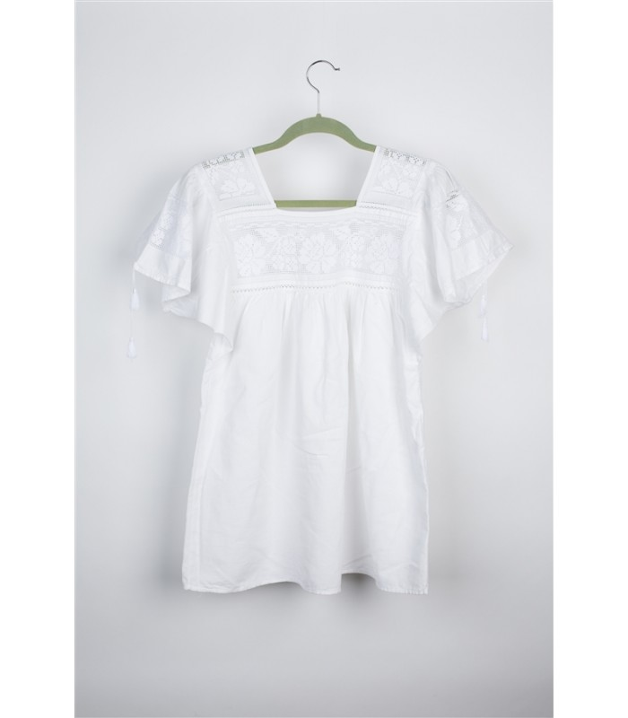 White Cotton Blouse with Openwork