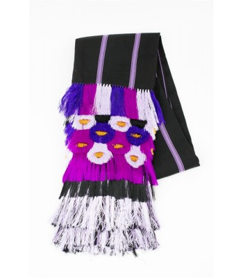 Hand Woven Black and Lilac Shawl with Flowers