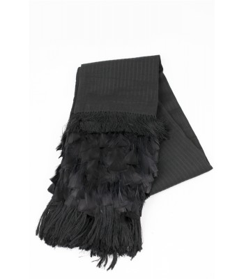 Hand Woven Black Shawl with Feathers