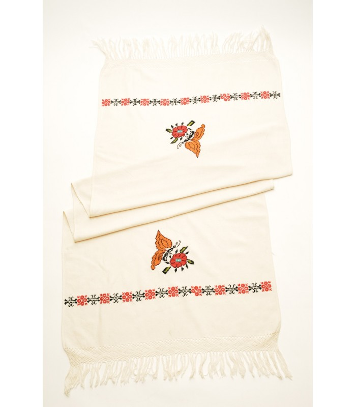 Hand Embroidered Shawl in White with Monarch Butterflies
