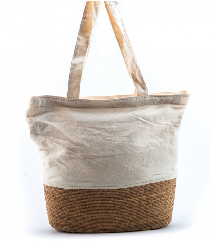 Oval Woven Bag with Ivory Cotton Details