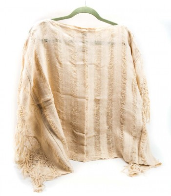 Quexquemetl Made out of an Ivory and Brown Shawl